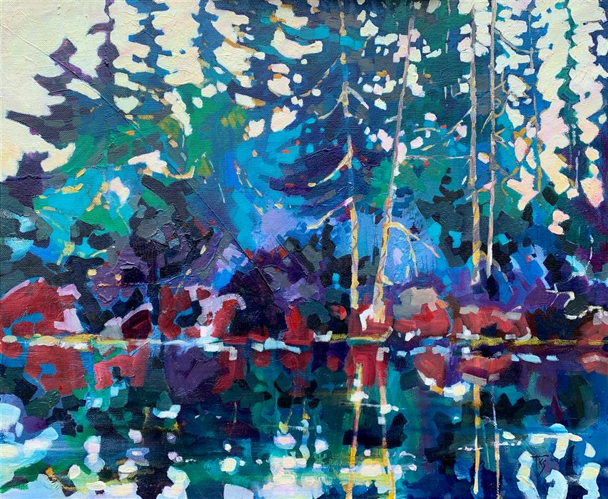 Original art for sale at UGallery.com | Lake Reflections by Teresa Smith | $1,100 | oil painting | 20' h x 24' w | ..\art\oil-painting-Lake-Reflections