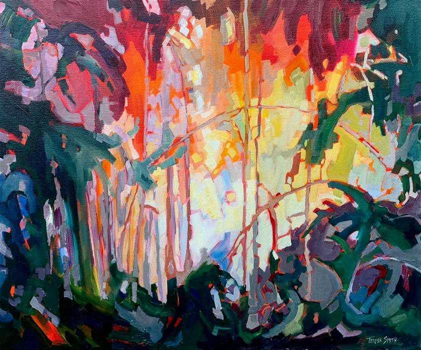 Original art for sale at UGallery.com | Jungle Trail by Teresa Smith | $1,100 | oil painting | 20' h x 24' w | ..\art\oil-painting-Jungle-Trail