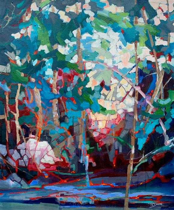 Original art for sale at UGallery.com | Deep Wood Pool by Teresa Smith | $1,100 | oil painting | 24' h x 20' w | ..\art\oil-painting-Deep-Wood-Pool