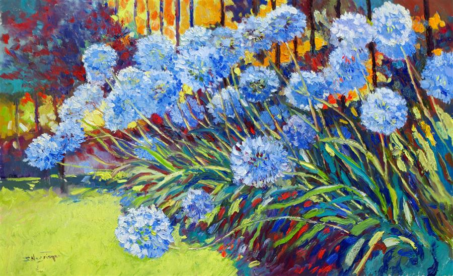 Original art for sale at UGallery.com | Agapanthus Flowers in the Garden, African Lilies by Suren Nersisyan | $2,625 | oil painting | 30' h x 48' w | ..\art\oil-painting-Agapanthus-Flowers-in-the-Garden-African-Lilies