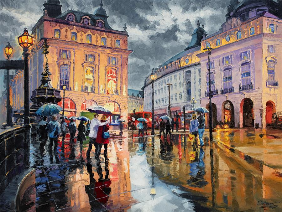 Original art for sale at UGallery.com | A Rainy Outing at Piccadilly Circus by Stanislav Sidorov | $3,375 | oil painting | 30' h x 40' w | ..\art\oil-painting-A-Rainy-Outing-at-Piccadilly-Circus