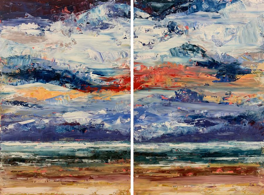 Original art for sale at UGallery.com | The Horizon a Sliver by STEPHANIE THWAITES | $2,125 |  | 36' h x 48' w | ..\art\oil-painting-The-Horizon-a-Sliver