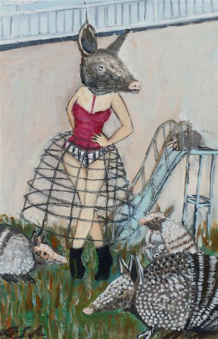 Original art for sale at UGallery.com | Hanging out with Armadillos by Kat Silver | $250 | oil painting | 6' h x 4' w | ..\art\oil-painting-Hanging-out-with-Armadillos