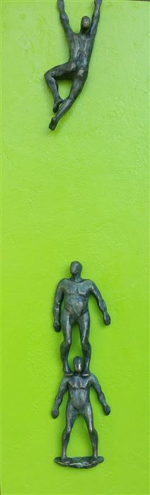 Original art for sale at UGallery.com | Climber on Green Hope B. by Yelitza Diaz | $925 | mixed media artwork | 30' h x 9' w | ..\art\sculpture-Climber-on-Green-Hope-B
