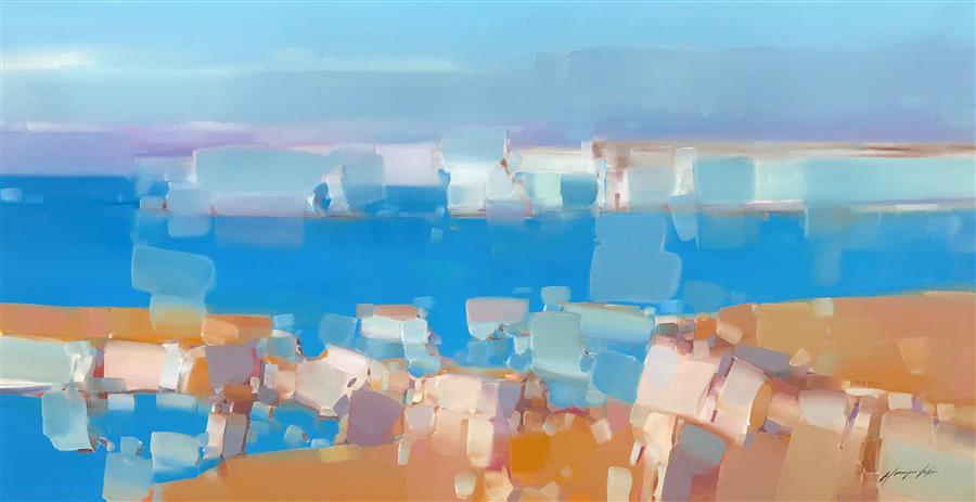 Original art for sale at UGallery.com | White Cliffs by Vahe Yeremyan | $3,000 | oil painting | 28' h x 56' w | ..\art\oil-painting-White-Cliffs