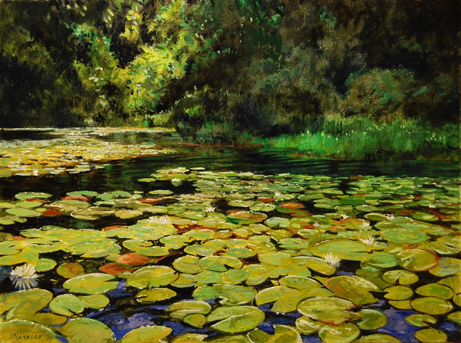 Original art for sale at UGallery.com | Promised Land Water Lilies by Onelio Marrero | $1,100 | oil painting | 18' h x 24' w | ..\art\oil-painting-Promised-Land-Water-Lilies