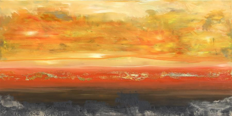 Original art for sale at UGallery.com | SunDream VIII by Michele Morata | $3,275 | oil painting | 24' h x 48' w | ..\art\oil-painting-SunDream-VIII