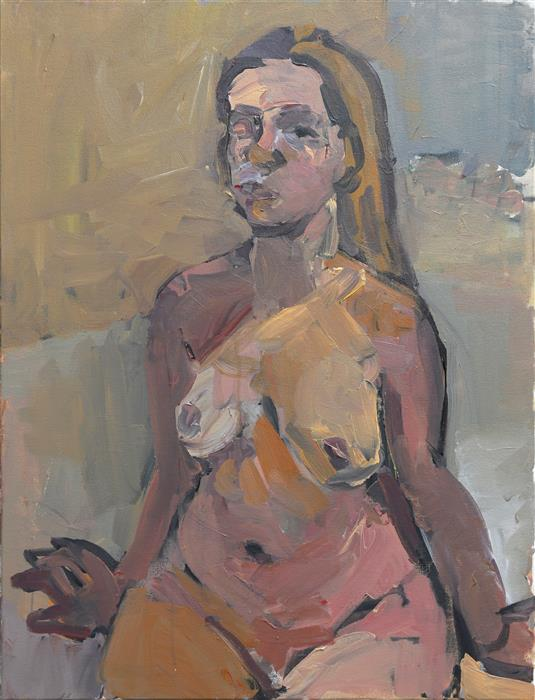 Original art for sale at UGallery.com | Girl Sitting by Slawomir Milewski | $1,250 | acrylic painting | 31.4' h x 23.6' w | ..\art\acrylic-painting-Girl-Sitting