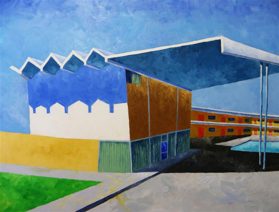 Original art for sale at UGallery.com | Thunderbird Motel 2 by Mitchell Freifeld | $600 | oil painting | 30' h x 40' w | ..\art\oil-painting-Thunderbird-Motel-2