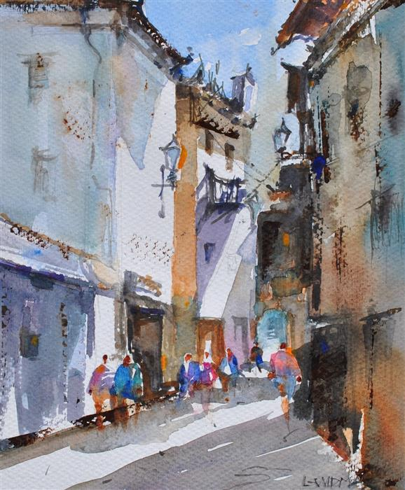 Original art for sale at UGallery.com | Cuenca Evening Promenade by Lanie Widmar | $500 | watercolor painting | 15' h x 12' w | ..\art\watercolor-painting-Cuenca-Evening-Promenade