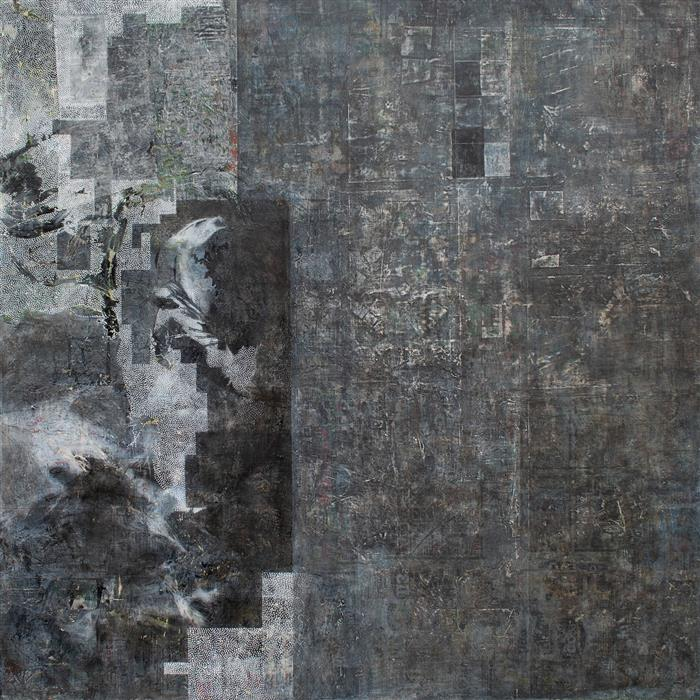 Original art for sale at UGallery.com | The Formal Act of Acquiring Something by Conquest or Occupation by Linnie Brown | $2,300 | mixed media artwork | 36' h x 36' w | ..\art\mixed-media-artwork-The-Formal-Act-of-Acquiring-Something-by-Conquest-or-Occupation