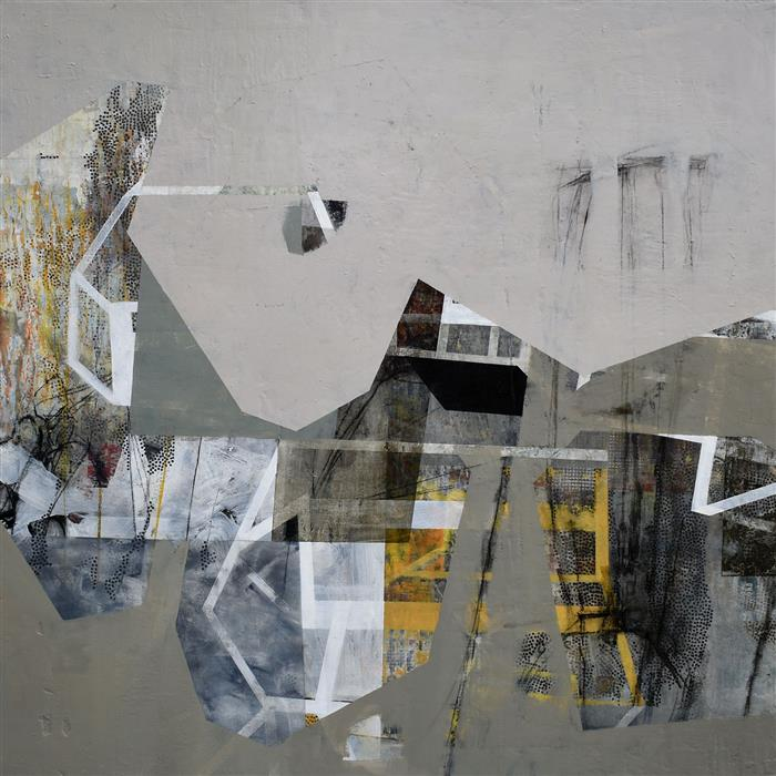 Original art for sale at UGallery.com | To Go Through or Over a Place by Linnie Brown | $2,300 | mixed media artwork | 36' h x 36' w | ..\art\mixed-media-artwork-To-Go-Through-or-Over-a-Place