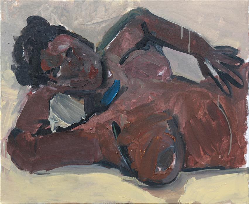Original art for sale at UGallery.com | Girl on the Bed by Slawomir Milewski | $1,050 | acrylic painting | 19.6' h x 23.6' w | ..\art\acrylic-painting-Girl-on-the-Bed