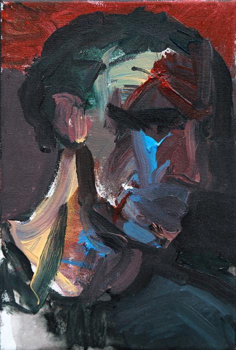 Original art for sale at UGallery.com | Head II by Slawomir Milewski | $550 | acrylic painting | 11.8' h x 7.8' w | ..\art\acrylic-painting-Head-II