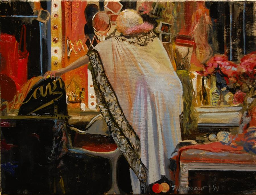 Original art for sale at UGallery.com | Backstage Tableau by ONELIO MARRERO | $525 |  | 9' h x 12' w | ..\art\oil-painting-Backstage-Tableau