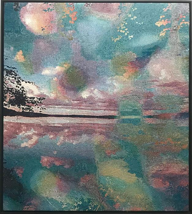 Original art for sale at UGallery.com | Japanese Lake (Distorted by My Wife's Voice) by Jack R. Mesa | $4,800 | fiber artwork | 56' h x 50' w | ..\art\fiber-artwork-Japanese-Lake-Distorted-by-My-Wife-s-Voice