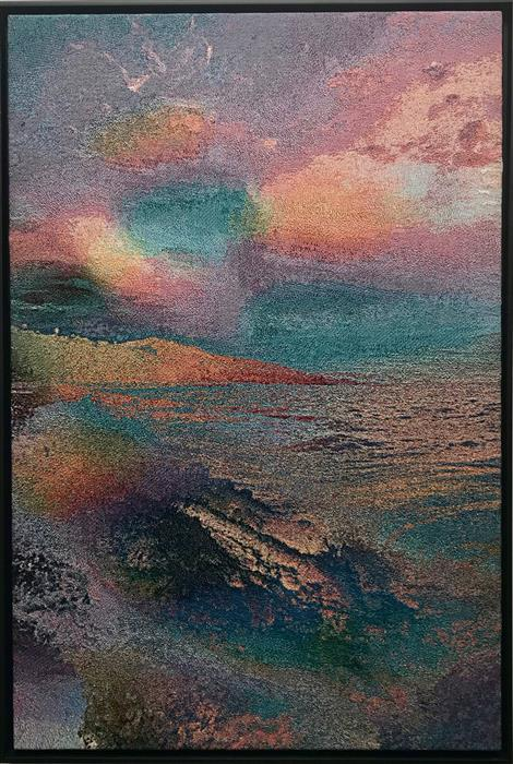 Original art for sale at UGallery.com | Coast (Image Colored by Its Own Sound) by Jack R. Mesa | $3,400 | fiber artwork | 56' h x 38' w | ..\art\fiber-artwork-Coast-Image-Colored-by-Its-Own-Sound