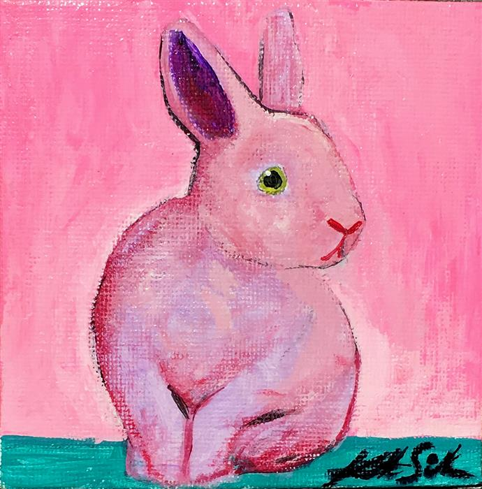 Original art for sale at UGallery.com | Neon Pink Bunny by Kat Silver | $150 | acrylic painting | 4' h x 4' w | ..\art\acrylic-painting-Neon-Pink-Bunny