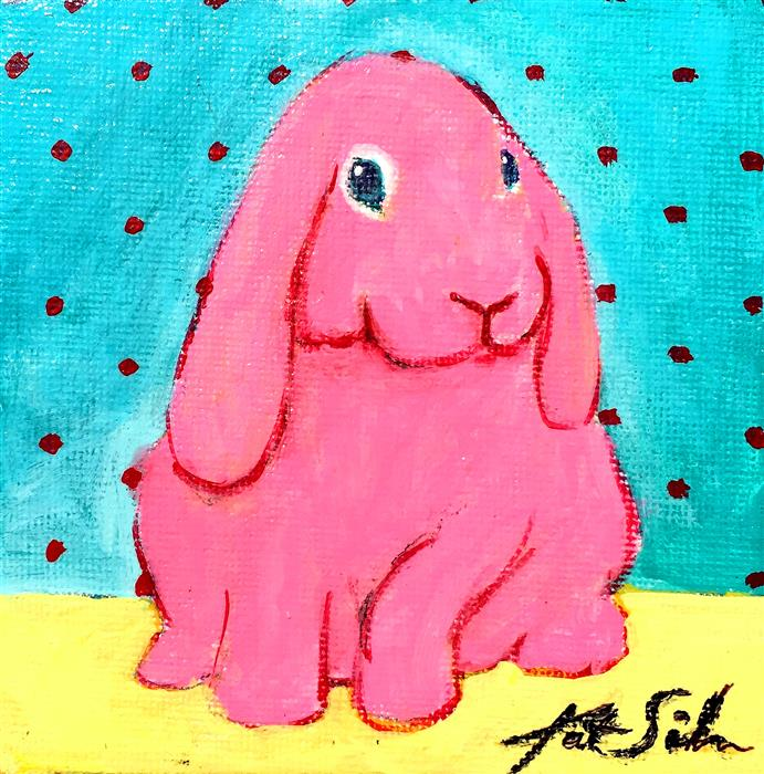 Original art for sale at UGallery.com | Blue Eyed Pink Bunny by KAT SILVER | $150 |  | 4' h x 4' w | ..\art\acrylic-painting-Blue-Eyed-Pink-Bunny