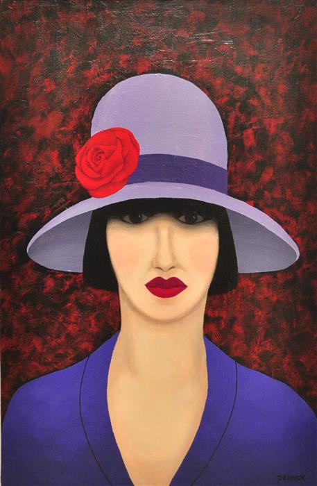 Original art for sale at UGallery.com | Mystery Woman by Carolyn Pennor | $1,400 | acrylic painting | 36' h x 24' w | ..\art\acrylic-painting-Mystery-Woman