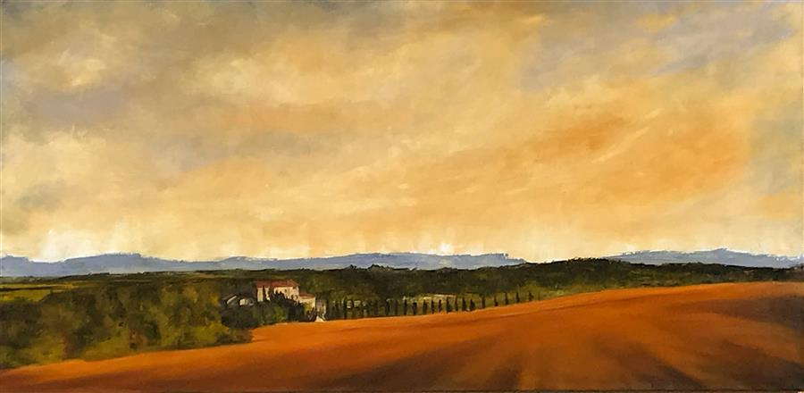 Original art for sale at UGallery.com | Ochre Field by Mandy Main | $2,600 | oil painting | 24' h x 48' w | ..\art\oil-painting-Ochre-Field