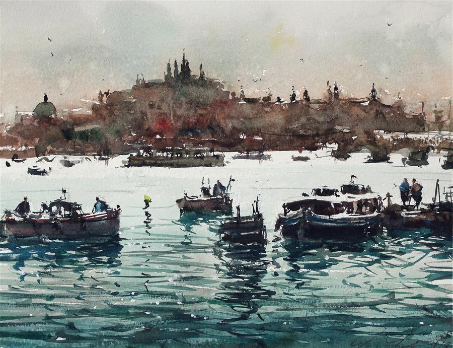 Original art for sale at UGallery.com | The Castle and the River by Maximilian Damico | $600 | watercolor painting | 7' h x 11' w | ..\art\watercolor-painting-The-Castle-and-the-River