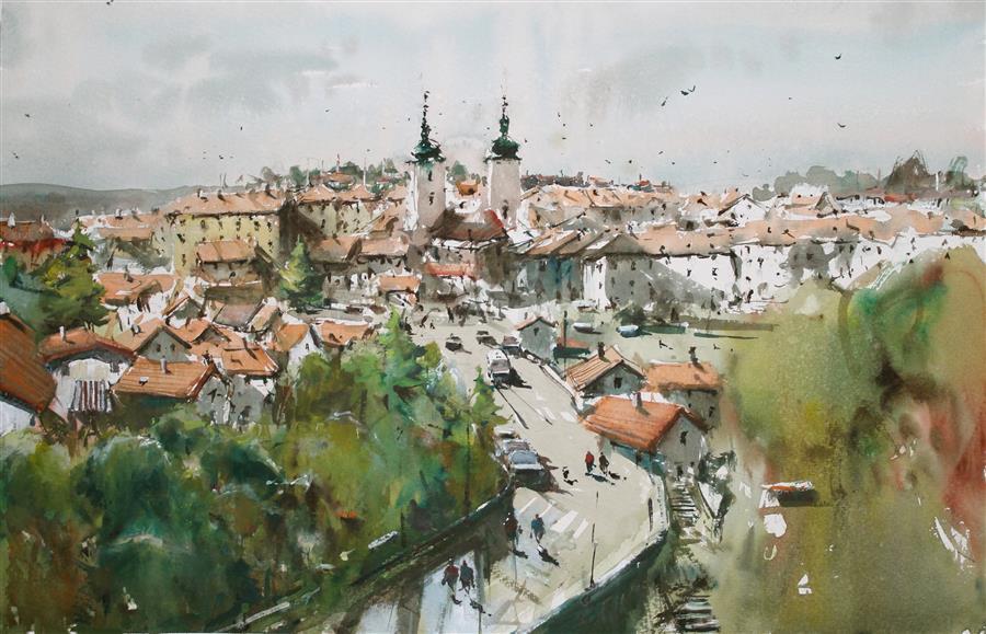 Original art for sale at UGallery.com | Moravian Village by Maximilian Damico | $850 | watercolor painting | 14' h x 22' w | ..\art\watercolor-painting-Moravian-Village