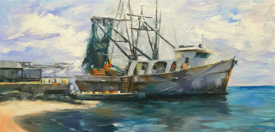 Original art for sale at UGallery.com | Relaxation, Fishing Trawl by Sokratis Evgenidis | $1,700 | oil painting | 19' h x 39' w | ..\art\oil-painting-Relaxation-Fishing-Trawl