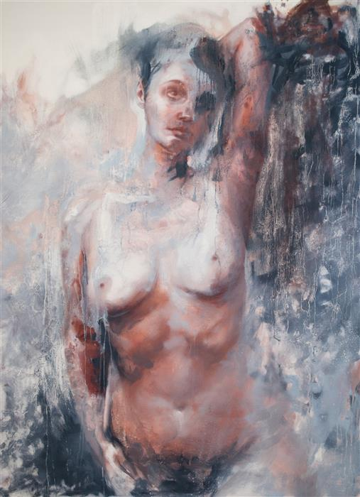Original art for sale at UGallery.com | Another Storm Brewing (Blue Nude) by Shaina Craft | $5,925 | oil painting | 60' h x 44' w | ..\art\oil-painting-Another-Storm-Brewing-Blue-Nude