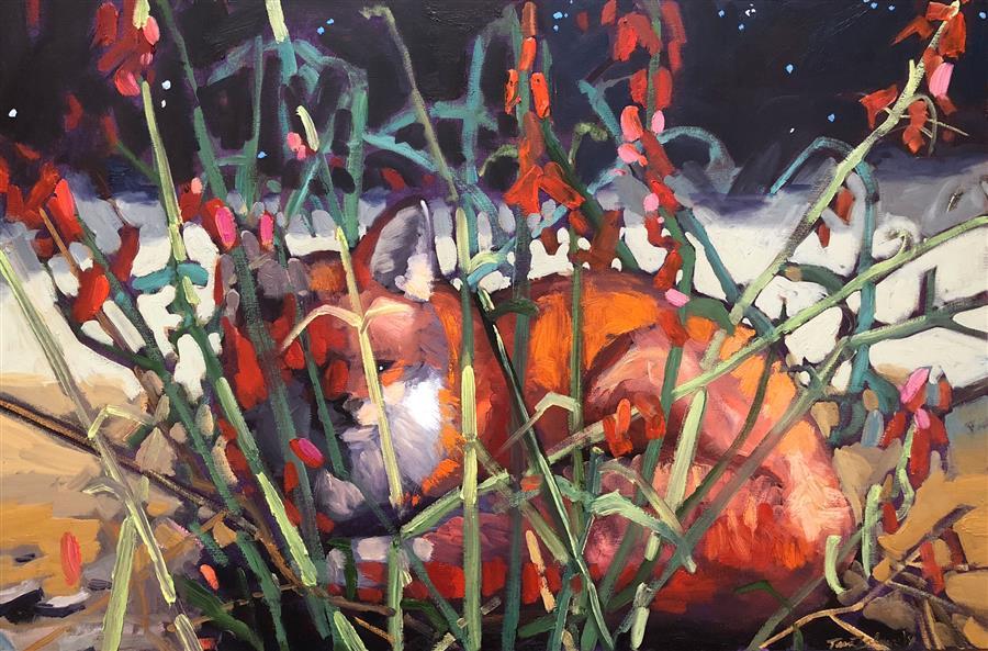 Original art for sale at UGallery.com | Desert Night Fox by Tara Zalewsky-Nease | $1,100 | oil painting | 24' h x 36' w | ..\art\oil-painting-Desert-Night-Fox