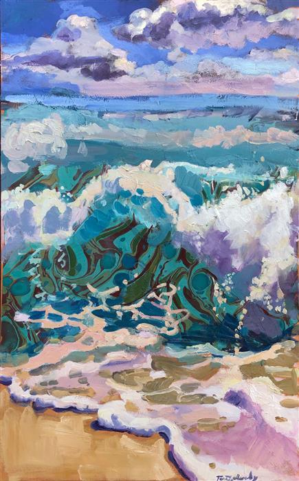 Original art for sale at UGallery.com | California Breakers by Tara Zalewsky-Nease | $2,100 | oil painting | 48' h x 30' w | ..\art\oil-painting-California-Breakers