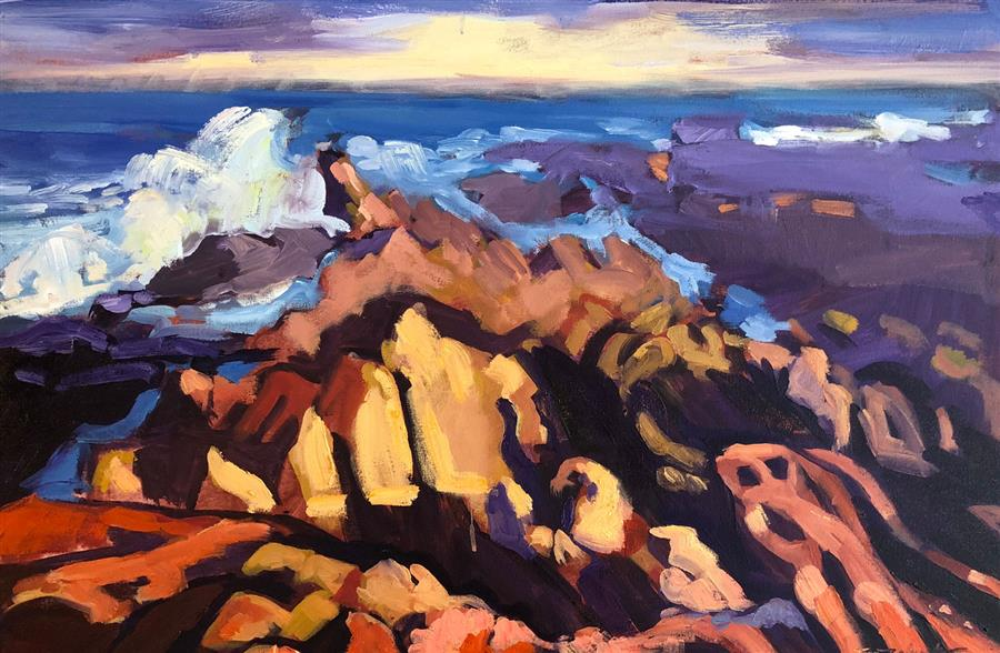 Original art for sale at UGallery.com | Canyon Coast by Tara Zalewsky-Nease | $1,100 | oil painting | 24' h x 36' w | ..\art\oil-painting-Canyon-Coast