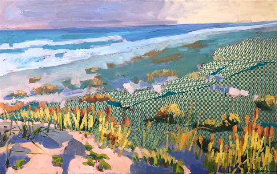 Original art for sale at UGallery.com | Golden Coast by Tara Zalewsky-Nease | $2,100 | oil painting | 30' h x 48' w | ..\art\oil-painting-Golden-Coast