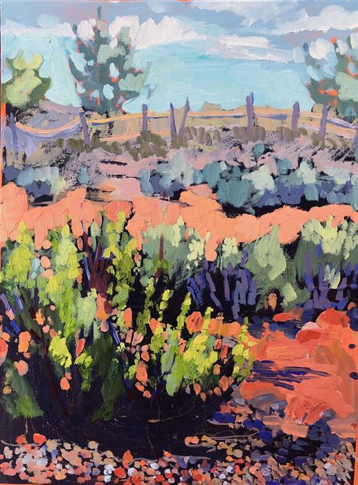 Original art for sale at UGallery.com | Albuquerque Desert by Tara Zalewsky-Nease | $800 | oil painting | 24' h x 18' w | ..\art\oil-painting-Albuquerque-Desert