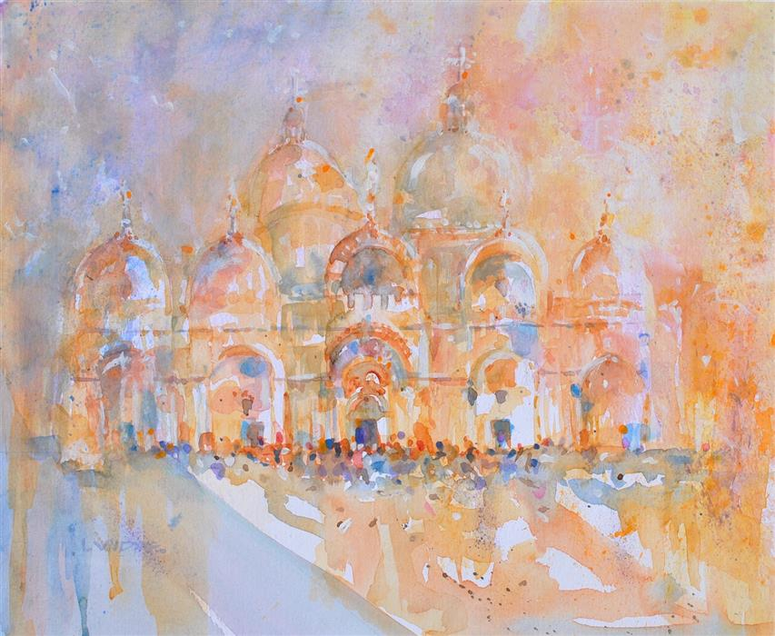 Original art for sale at UGallery.com | St. Mark's Basilica Series #2 by Lanie Widmar | $800 | watercolor painting | 19' h x 23' w | ..\art\watercolor-painting-St-Mark-s-Basilica-Series-2