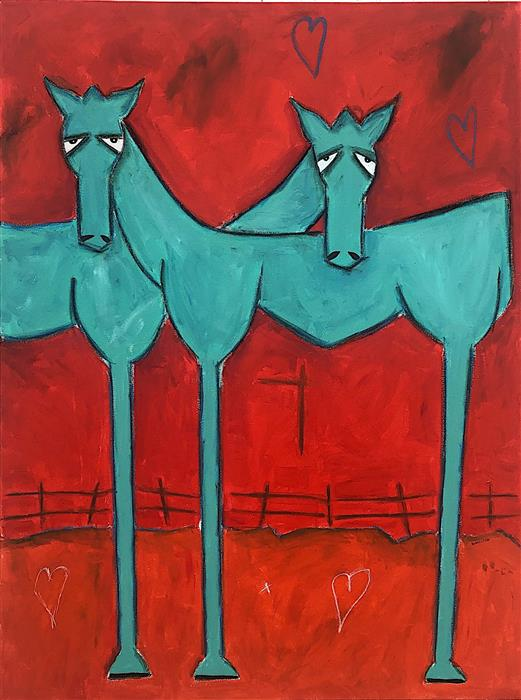 Original art for sale at UGallery.com | Horse Love by Rick Hamilton | $3,300 | mixed media artwork | 48' h x 36' w | ..\art\mixed-media-artwork-Horse-Love