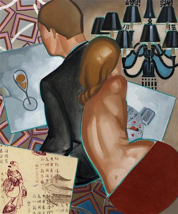 Original art for sale at UGallery.com | The Cristal Room by Anne-François de Sérilly | $2,350 | oil painting | 25.5' h x 21' w | ..\art\oil-painting-The-Cristal-Room