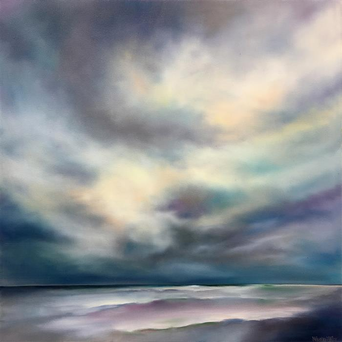 Original art for sale at UGallery.com | Seaside Light by Nancy Hughes Miller | $1,500 | oil painting | 30' h x 30' w | ..\art\oil-painting-Seaside-Light