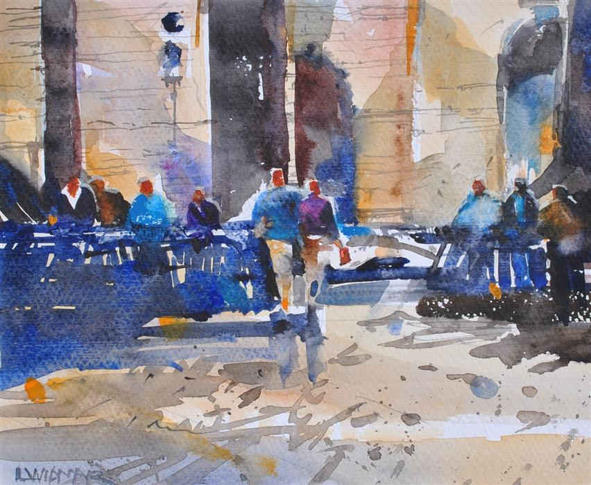 Original art for sale at UGallery.com | Sevilla Cafe by Lanie Widmar | $450 | watercolor painting | 14' h x 16.5' w | ..\art\watercolor-painting-Sevilla-Cafe