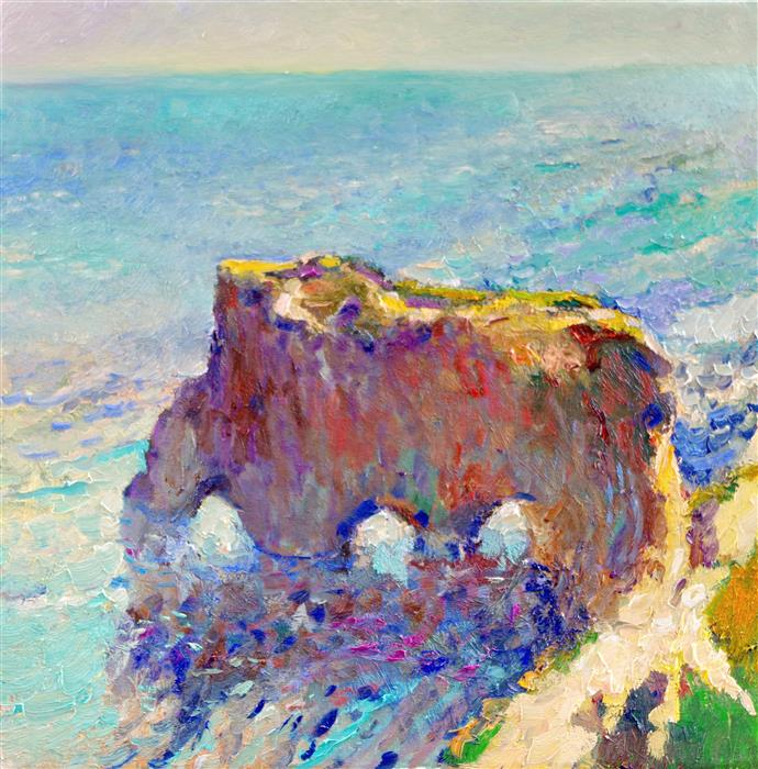 Original art for sale at UGallery.com | Lonely Rock, Pacific Ocean, El Matador Beach by Suren Nersisyan | $650 | oil painting | 20' h x 20' w | ..\art\oil-painting-Lonely-Rock-Pacific-Ocean-El-Matador-Beach