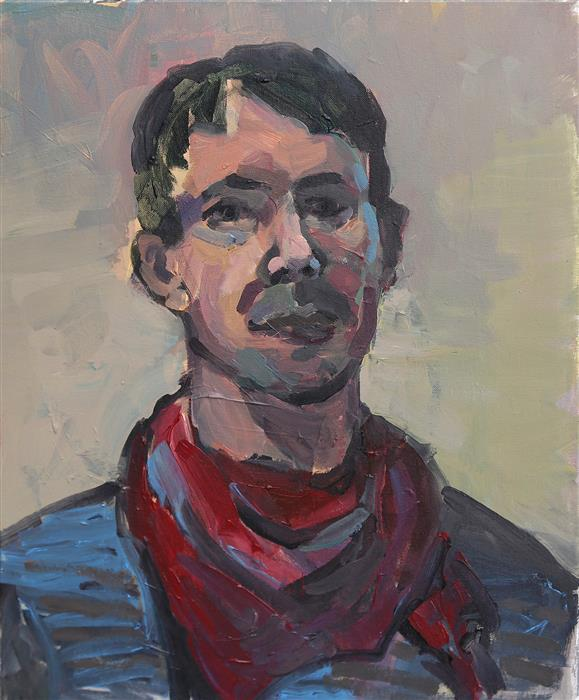 Original art for sale at UGallery.com | The Man with Red Scarf (Self-Portrait) by Slawomir Milewski | $1,050 | acrylic painting | 23.6' h x 19.6' w | ..\art\acrylic-painting-The-Man-with-Red-Scarf-Self-Portrait