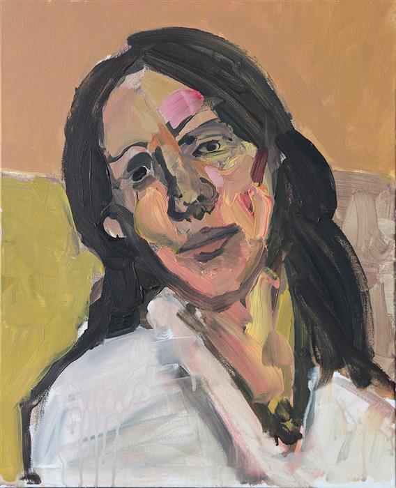 Original art for sale at UGallery.com | Woman with Black Hair by Slawomir Milewski | $900 | acrylic painting | 20' h x 16' w | ..\art\acrylic-painting-Woman-with-Black-Hair