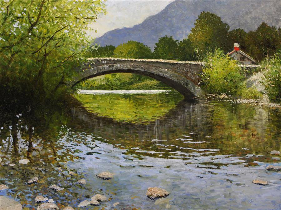 Original art for sale at UGallery.com | Stonebridge by Kent Sullivan | $1,450 | oil painting | 18' h x 24' w | ..\art\oil-painting-Stonebridge