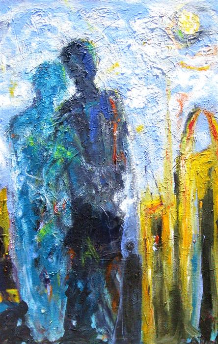 Original art for sale at UGallery.com | A Pilgrimage to Tangier by Ron Klotchman | $1,700 | acrylic painting | 36' h x 24' w | ..\art\acrylic-painting-A-Pilgrimage-to-Tangier