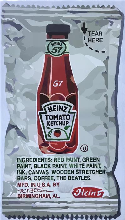 Original art for sale at UGallery.com | Portrait of a Pack of Ketchup by KEITH THOMSON | $1,750 |  | 43' h x 25' w | ..\art\mixed-media-artwork-Portrait-of-a-Pack-of-Ketchup