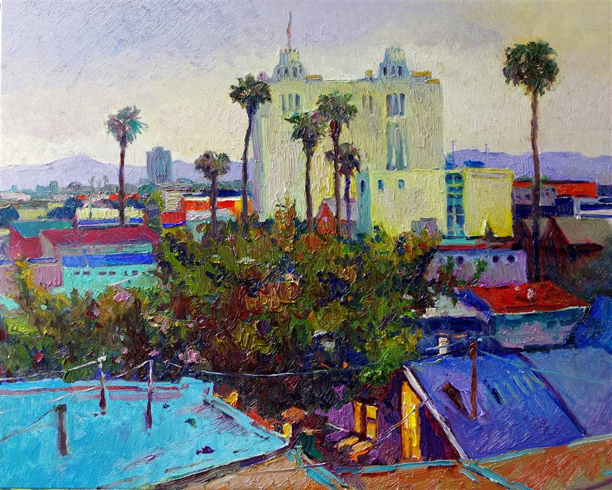 Original art for sale at UGallery.com | Early Evening in Los Angeles, a View from Hollywood by Suren Nersisyan | $1,700 | oil painting | 24' h x 30' w | ..\art\oil-painting-Early-Evening-in-Los-Angeles-a-View-from-Hollywood