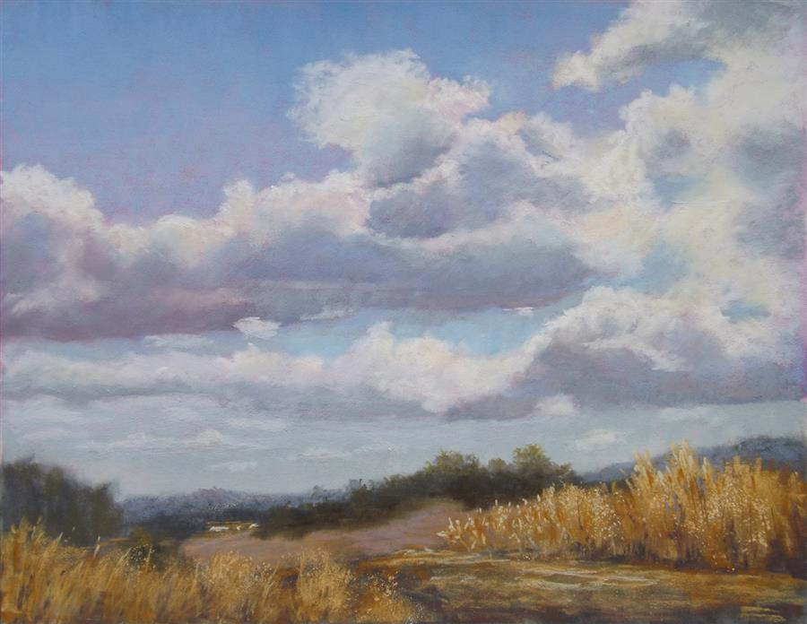 Original art for sale at UGallery.com | Clouds over the Valley by PATRICIA PRENDERGAST | $475 |  | 11' h x 14' w | ..\art\pastel-artwork-Clouds-over-the-Valley