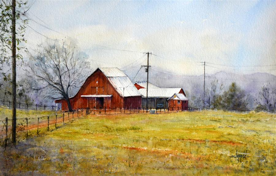 Original art for sale at UGallery.com | Red Barn off English Station by Judy Mudd | $1,100 | watercolor painting | 15' h x 22.5' w | ..\art\watercolor-painting-Red-Barn-off-English-Station