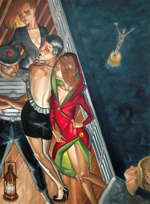 Original art for sale at UGallery.com | Sur le Bastingage by Anne-François de Sérilly | $2,350 | oil painting | 28.5' h x 21' w | ..\art\oil-painting-Sur-le-Bastingage