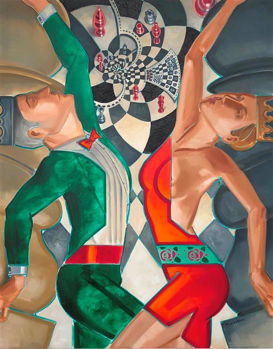 Original art for sale at UGallery.com | Pièces Rapportées by Anne-François de Sérilly | $2,900 | oil painting | 36' h x 29' w | ..\art\oil-painting-Pi-ces-Rapport-es